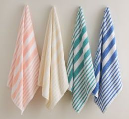 12 Units of Martex Cabana Stripe Beach Towel Size 35x70 100 Percent Cotton In Green - Beach Towels