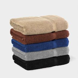 12 Units of Martex Ring Spun Cotton Bath Towel With Dobby Border In Size 27x54 Black Colored - Bath Towels