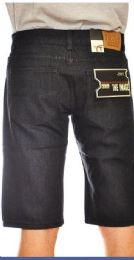 24 Units of MEGA CLUB FASHION DENIM SHORTS SOLID BLACK COLOR IN ASSORTED SIZES - Mens Shorts