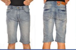 24 Units of Denim Shorts Solid Color In Assorted Sizes - Mens Shorts
