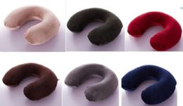 24 Units of Memory Foam Travel Pillow One Size In Burgandy - Pillows