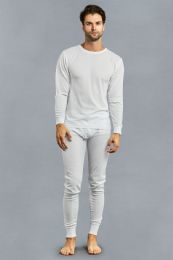 12 Units of Men's Thermal Top And Bottom Set Color White Size 2XL - Mens Thermals