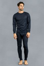 12 Units of Men's Thermal Top And Bottom Set Color Navy Size M - Mens Thermals