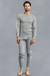 12 Units of Men's Thermal Top And Bottom Set Color Heather Grey Size 3XL - Mens Thermals