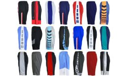 24 Units of Men's Assorted Active Shorts Basket Ball Shorts MoisturE-Wicking Mesh Fabric Size Xlarge - Mens Shorts