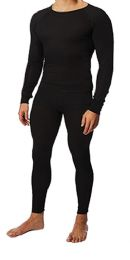 36 Units of Men's Black Thermal Cotton Underwear Top And Bottom Set, Size Large - Mens Thermals
