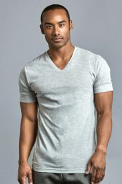72 Units of Men's Cotton V-Neck T-Shirt In Size 3X-Large In Gray - Mens T-Shirts