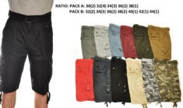 12 Units of Men's Fashion Cargo Shorts In Black - Mens Shorts