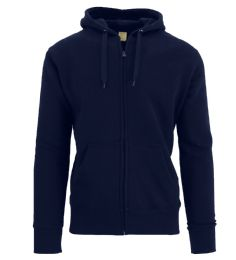 24 Units of Men's FleecE-Lined Zip Hoodie Solid Navy Bulk Buy - Mens Clothes for The Homeless and Charity