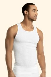 144 Units of Men's First Quality White A-Shirts Size L - Mens T-Shirts
