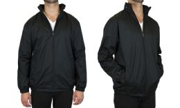 12 Units of Men's FleecE-Lined Water Proof Hooded Windbreaker Jacket Solid Black Size Medium - Men's Winter Jackets