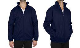 12 Units of Men's FleecE-Lined Water Proof Hooded Windbreaker Jacket Solid Navy Size Large - Men's Winter Jackets