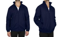 12 Units of Men's FleecE-Lined Water Proof Hooded Windbreaker Jacket Solid Navy Size X Large - Men's Winter Jackets