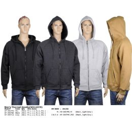24 Units of Men's Fleece Hoodie Light Grey, And Black In Size Medium - Mens Sweat Shirt