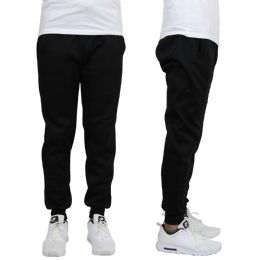 24 Units of Men's Heavy Weight Joggers In Black Size L - Mens Sweatpants
