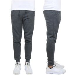 24 Units of Men's Heavy Weight Joggers In Charcoal Size L - Mens Sweatpants