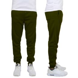24 Units of Men's Heavy Weight Joggers In Olive Size L - Mens Sweatpants