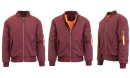 12 Units of Men's Heavyweight MA-1 Flight Bomber Jackets Maroon Size X LARGE - Men's Winter Jackets