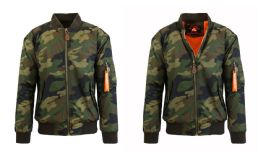 12 Units of Men's Heavyweight MA-1 Flight Bomber Jackets Woodland Camo Size Medium - Men's Winter Jackets