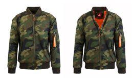 12 Units of Men's Heavyweight MA-1 Flight Bomber Jackets Woodland Camo Size Xxlarge - Men's Winter Jackets