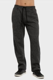 24 Units of MEN'S MEDIUM WEIGHT FLEECE SPACE-DYE GREY SWEATPANTS SIZE L - Mens Sweatpants