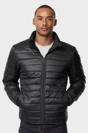 12 Units of MEN'S PUFF JACKET IN BLACK SIZE LARGE - Mens Jackets