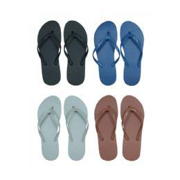 96 Units of Men's Solid Assorted Color Flip Flops - Men's Flip Flops and Sandals