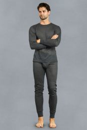 12 Units of Men's Thermal Top And Bottom Set Color Charcoal Size L - Mens Thermals