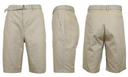 24 Units of Mens Belted Cotton Chino Shorts Size 38 Solid Khaki - Mens Shorts
