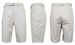 24 Units of Mens Belted Cotton Chino Shorts Size 38 Solid Sand - Mens Shorts