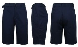 24 Units of Mens Belted Cotton Chino Shorts Size 38 Solid Navy - Mens Shorts