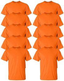 12 Units of Mens Cotton Crew Neck Short Sleeve T-Shirts Bulk Pack Solid Orange, 2X Large - Mens T-Shirts