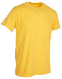 36 Units of Mens Cotton Short Sleeve T Shirts Solid Yellow 3XL - Mens T-Shirts