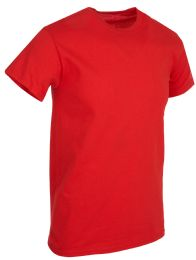 36 Units of Mens Cotton Short Sleeve T Shirts Solid Red Size 3XL - Mens T-Shirts