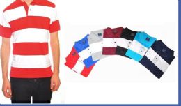 24 Units of Mens Fashion Short Sleeve Striped Assorted Size Polo Shirt - Mens Polo Shirts