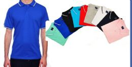 24 Units of Mens Fashion Solid Color Assorted Size Polo Shirts - Mens Polo Shirts