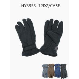 144 Units of Mens Fleece Winter Gloves - Fleece Gloves