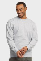 12 Units of MENS LIGHT WEIGHT FLEECE SWEATSHIRTS IN HEATHER GREY SIZE LARGE - Mens Sweat Shirt