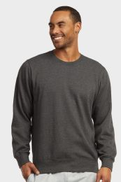 12 Units of MENS LIGHT WEIGHT FLEECE SWEATSHIRTS IN CHARCOAL GREY SIZE LARGE - Mens Sweat Shirt