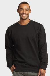12 Units of MENS LIGHT WEIGHT FLEECE SWEATSHIRTS IN BLACK SIZE LARGE - Mens Sweat Shirt