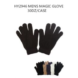 108 Units of Mens Magic Gloves Assorted Colors - Knitted Stretch Gloves