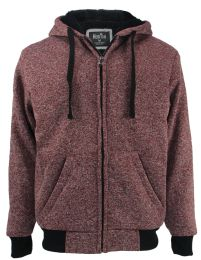 12 Units of Mens Marled Zip Up Fleece Lined Hoody Plus Size In Red - Mens Sweat Shirt