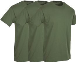 3 Units of Mens Military Green Cotton Crew Neck T Shirt Size 2X Large - Mens T-Shirts