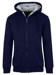 12 Units of Mens Navy Fleece Line Sherpa Hoodies Size XXL - Mens Sweat Shirt