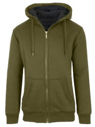 12 Units of Mens Olive Fleece Line Sherpa Hoodies Assorted Sizes - Mens Sweat Shirt