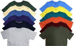 12 Units of Mens Plus Size Cotton Crew Neck Short Sleeve T Shirt, Assorted Colors, Size 6XL - Mens T-Shirts