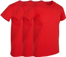 3 Units of Mens Red Cotton Crew Neck T Shirt Size 2X Large - Mens T-Shirts