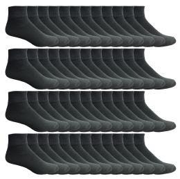 60 Units of Yacht & Smith Men's Premium Cotton Quarter Ankle Sport Socks Size 10-13 Solid Black - Mens Ankle Sock