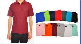 24 Units of Mens Solid Color Assorted Size Polo Shirts - Mens Polo Shirts