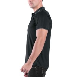 24 Units of Mens Waffit Polo Tee Shirt In Charcoal Plus Size - Mens Polo Shirts
